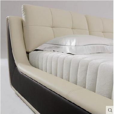 顾家家居皮艺床1.8米双人主卧真皮现代简约卧室家具时尚欧式皮床